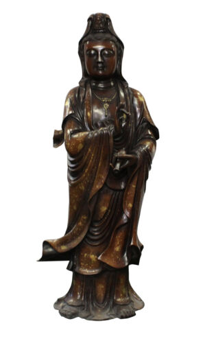 Chinese Fine Bronze Metal Bottle StandingKwan Yin Buddha Statue cs2785