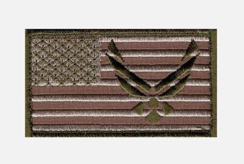 Air force Logo USAF USA Flag Embroidered Morale Hook patch 3.5 X 2.0 Army - 48824