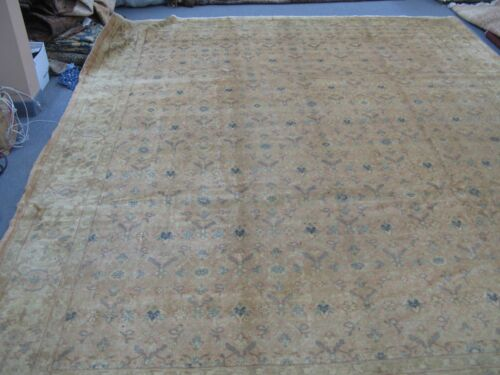 Antique Turkish Sivas Oushak Rug Hand Knotted Wool 10'-3 x 12'-7 Allover