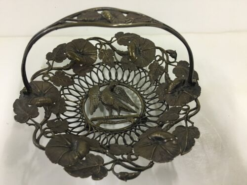 Antique Mexican Silver Brass Floral Basket w Eagle Shield And Swing Handle