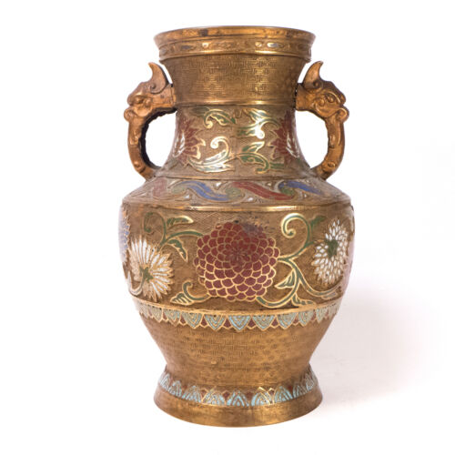 Antique Brass Japanese Cloisonne Champleve Urn Vase 12""