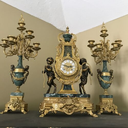 IMPERIAL BRAND HUGE ITALY BREVETATTO BRONZE MARBLE CLOCK WITH CANDELABRA SET