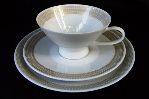 Rosenthal Continental Gold Diamond Footed Demitasse Tea Cup Saucer Crumpet Trio