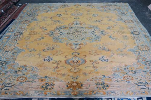 Vintage Turkish Sivas Yellow Area Rug Hand Knotted Wool 10'0 x 13'-9 Medallion