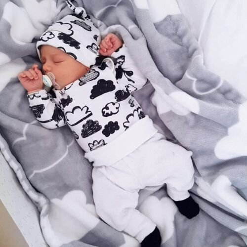 3pcs Newborn Infant Kid Baby Boy Girl Clothes T-shirt Tops+Pants+Hat Outfits Set