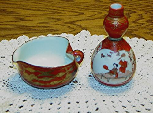 VINTAGE HAND-PAINTED PORCELAIN JAPANESE VASE & PITCHER WITH GOLD ACCENTS