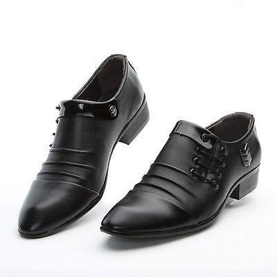 New Fashion Mens Lace Up Pointy Toe Leather Shoes Buisness Dress Formal Wedding