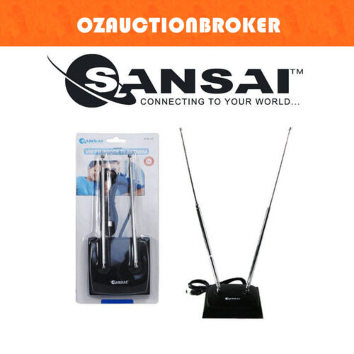 SANSAI ATN20 INDOOR TV ANTENNA RABBIT EARS BUNNY EAR Ideal for VHF channels