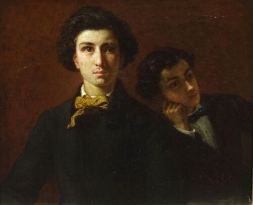 Fine 19th Century French Double / Self Portrait Brothers Antique Oil Painting