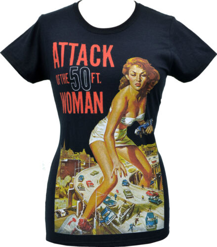 Womens B-MOVIE T-Shirt Attack of the 50ft Woman Horror Sci Fi Vintage Pin-up