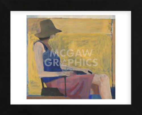 FRAMED ART Seated Figure with Hat, 1967 by Richard Diebenkorn Print Frame 13x16