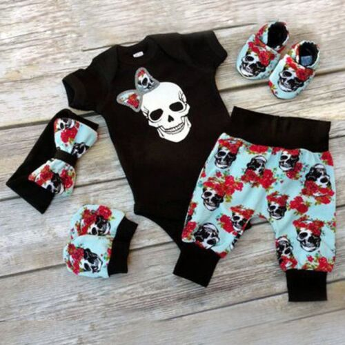 4PCS Newborn Infant Baby Boy Girl Skull Clothes Romper Bodysuit+Pants Outfit Set