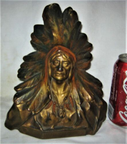 ANTIQUE USA WESTERN AMERICAN INDIAN SCULPTURE ART STATUE ONE BOOKEND LG DOORSTOP