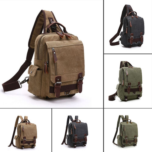 Canvas Rucksack Camping School Satchel Laptop Hiking Bags Sports Travel Backpack