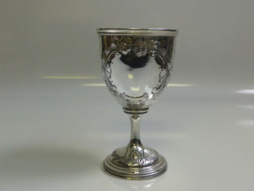 Antique American Coin Silver Chalice / Goblet - Gorgeous Hand Chased Design 188g