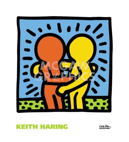 KH05 by Keith Haring Art Print Dancing Hugging Hug Love Pop Poster 22x20