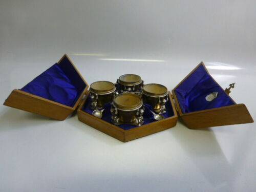 Antique set of 4 Silverplate Figural Salt Cellars & Spoons in Fitted Wooden Case