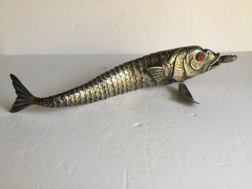 VIntage Large Silver BRASS Articulated Fish Sculpture Figurine Glass Eyes 18.5""