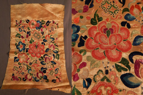 Antique Chinese Forbidden Stitch Embroidery Apricot Yellow Silk Badge Square Vtg