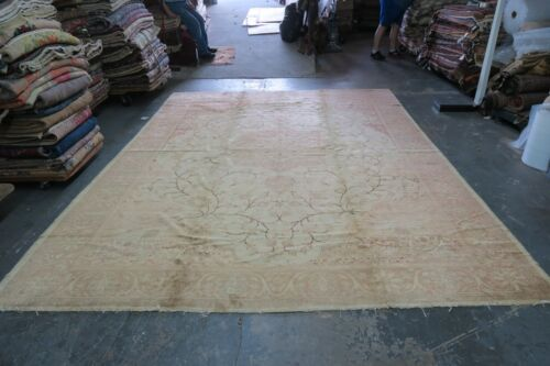 Vintage Turkish Oushak Sivas Rug Wool Hand Knotted 9'8 x 12'8 DISTRESSED