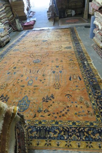Antique India Agra Hand Knotted Wool Gallery Rug 9'8 x 20'3 Distressed !!