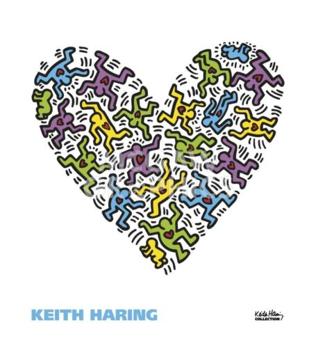 Untitled, 1985 (heart) by Keith Haring Art Print Romantic Pop Poster 22x20