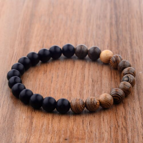 Fashion Men's 8MM Multilayer Wooden Beaded Elasticity Charm Women's Bracelets