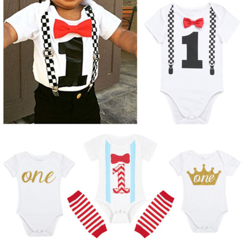 Infant Baby Boy Girl 1st Birthday Romper Bodysuit One Year Party Clothes Outfits