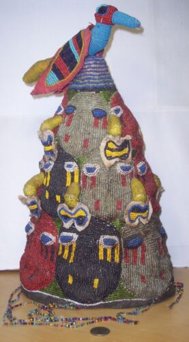 VERY RARE ANTIQUE AFRICAN YORUBA CERIMONIAL BEADED CROWN (HAT) FROM NIGERIA