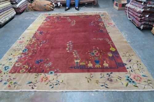 Anitque Art Deco Chinese Area Rug 8'-9 x 11'-8 Hand Knotted Wool 1940's