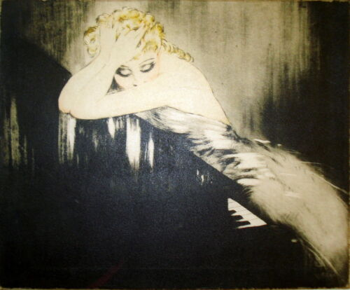 PAINTING PRINT ICART PIANO ART DECO ON CANVAS READY TO HANG RARE