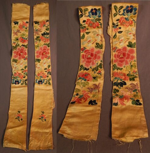 Antique Chinese Yellow Silk Forbidden Stitch Embroidery Robe Sleeve Band Cuffs