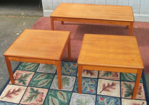 MID MODERN COFFEE TABLE & TWO END TABLES wood Asian Oriental Chinese furniture
