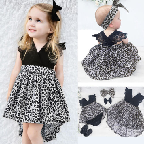0-7Y Casual Baby Girls Kid Lace Romper Dress Party Pageant Tutu Dresses Headband