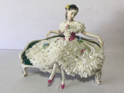 Dresden Germany Volkstedt Lace Lady Porcelain Figurine