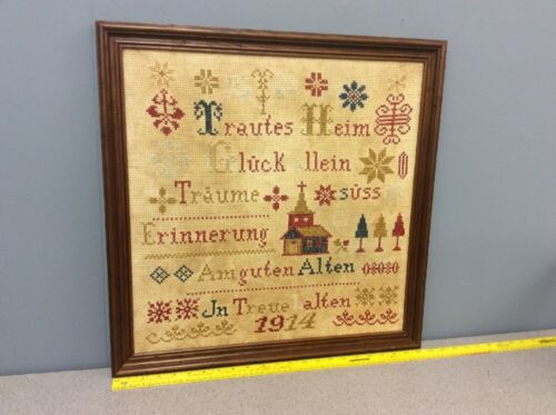 Antique Authentic 1914 German Framed Sampler Needlepoint