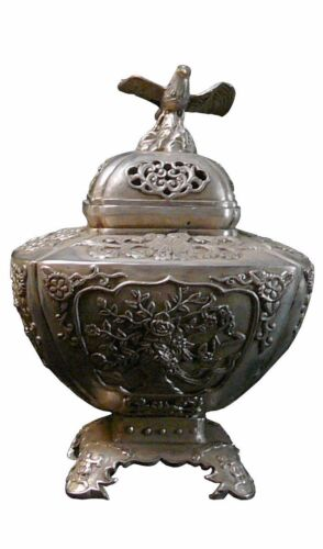 Silver Coating Artisitic Square Incense Container Display vs890