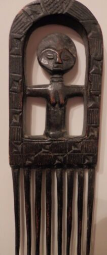 OLD antique African Primitive Fine Folk Art Carved WOOD Sculpture Figural Comb $