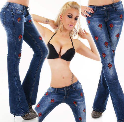 Women's dark Blue Embroidered stretch mid rise Bootcut Jeans Sizes UK 4-12