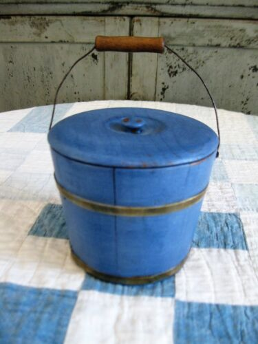 Small Early Antique Wood Bucket w Lid Blue Milk Paint