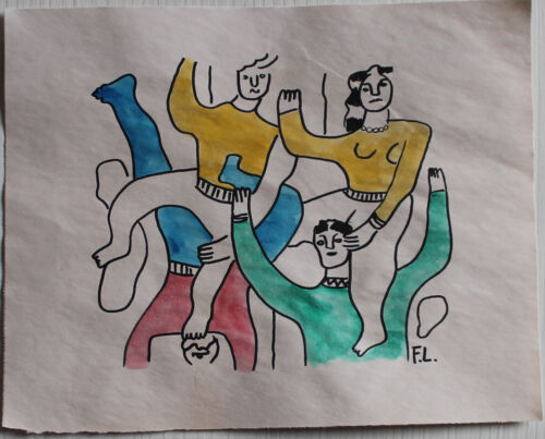 Ink drawing watercolor signed FERNAND LEGER
