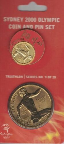 2000 Sydney Olympics $5 Coin and Pin Set Wrestling13//28