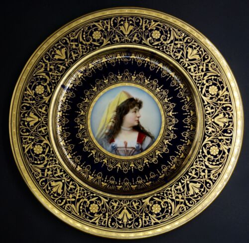 Hand Painted Cobalt Gold Wahliss Royal Vienna Portrait Plate of Woman ~ Adele