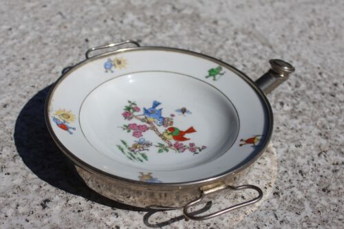 Vintage lovely baby children metal hot water plate heater with porselain plate