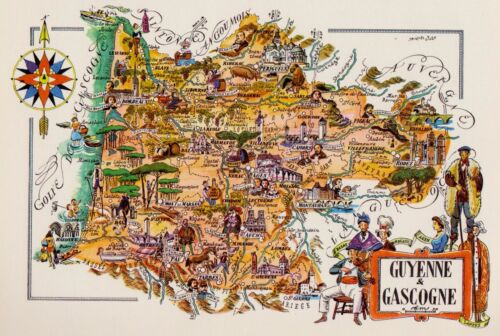 Vintage France Picture Map Gironde & Gascony Region Pictorial Cartoon Fra 4981