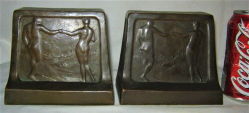 ANTIQUE 1914 GRIFFOUL SIGNED ADAM & EVE BRONZE STATUE SCULPTURE BOOKENDS 16 LBS