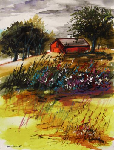 ORIGINAL Farm LANDSCAPE  Watercolor Painting JMW art J Williams Expressionism