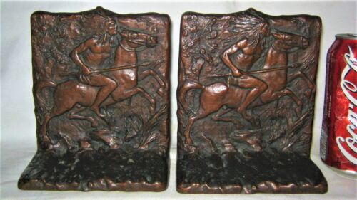 ANTIQUE USA JUDD # 9844 INDIAN HORSE HUNTING CAST IRON ARTS CRAFTS BOOK BOOKENDS