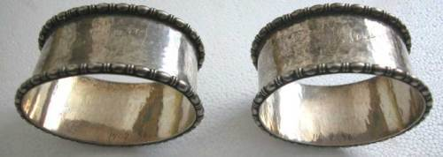 HAND HAMMERED BIG HEAVY PAIR OF SILVER NAPKIN RINGS