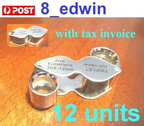 12 Units of 10x AND 20x Jeweler Loupe Dual lenses Included GST ! Local Shipping